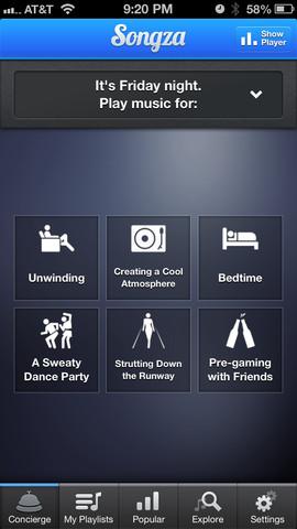 Songza Screenshot
